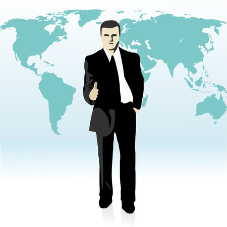 Picture of businessman  stretching out his hand in front of the world`s map Illustration