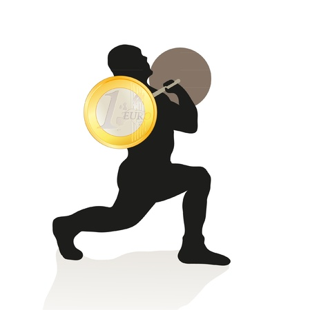 weightlifter: Black silhouette of weightlifter holding the Euro coin