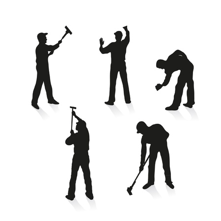 Set of five different cleaners Stock Vector - 11844646