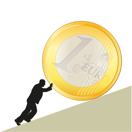 Symbol of business with big Euro coin