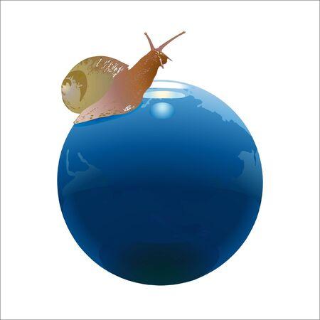 Snail on the globe Illustration