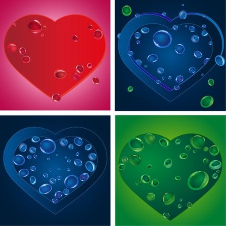 Set of four heart silhouettes with various drops Vector