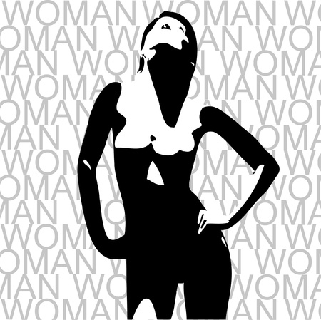 Nude beautiful woman against background Illustration