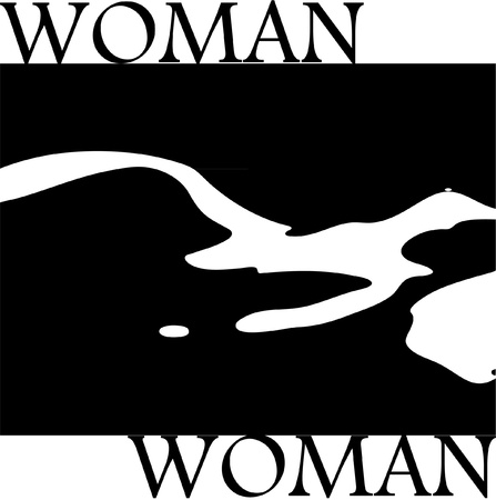 Stylish silhouette of nude woman black and white Illustration