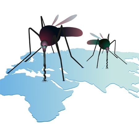 mosquitos: Two mosquitos sucking out natural resources on the world`s map