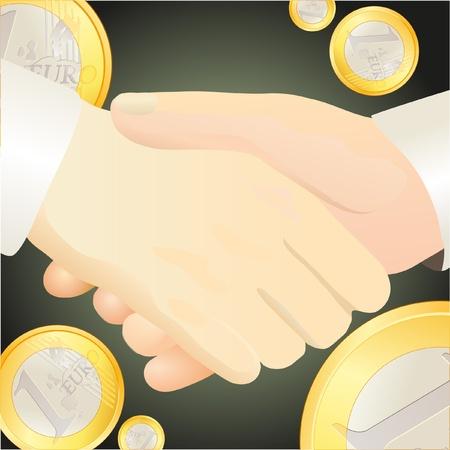 handclasp: Handshake against Euro-related  background Illustration