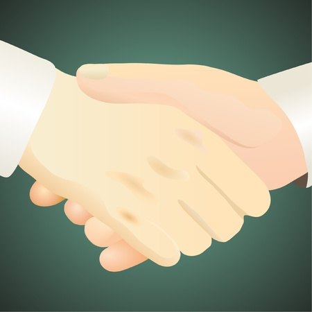 Handshake against the dark green background Stock Vector - 12067812
