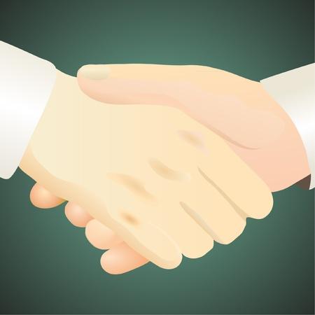 Handshake against the dark green background