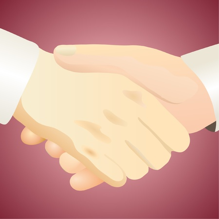 Handshake against the dark red background Stock Vector - 12067811