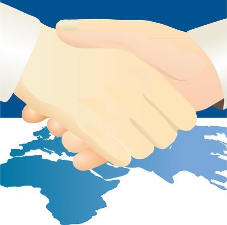handclasp: Handshake against world`s map background