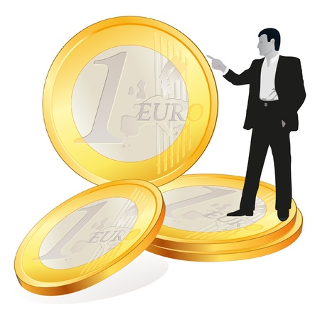 Businessman with four  big Euro coins Vector