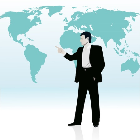 wold map: Businessman near the wold s map