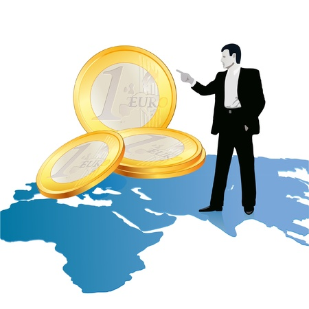 Businessman on wold s map pointing at big Euro coins Stock Vector - 12492432