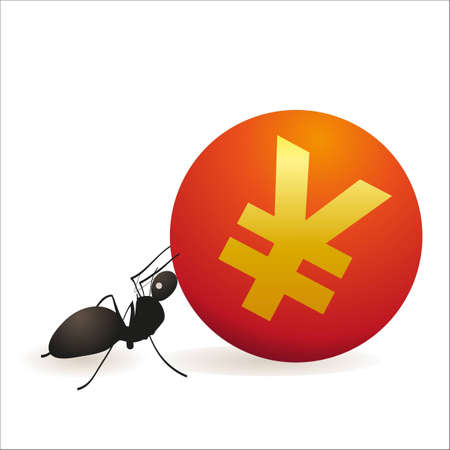 Ant pushing big symbol of Yuan Vector