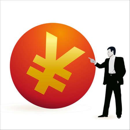 relaciones laborales: Hombre de negocios apuntando al símbolo de Yuan Vectores