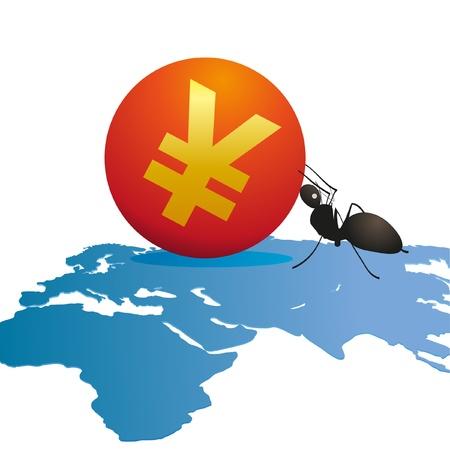 relaciones laborales: Hormiga con un gran símbolo de Yuan en el mapa del mundo s