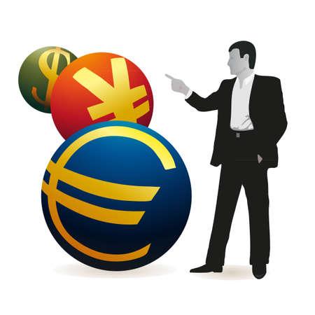 relaciones laborales: Hombre de negocios a partir de tres símbolos de Yuan, euro y dólar de EE.UU.