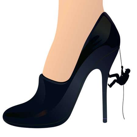 dependence: Man climbing up a woman s shoe