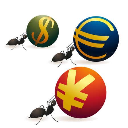 relaciones laborales: Tres hormigas que empujan Yuan Euro y s�mbolos de d�lar