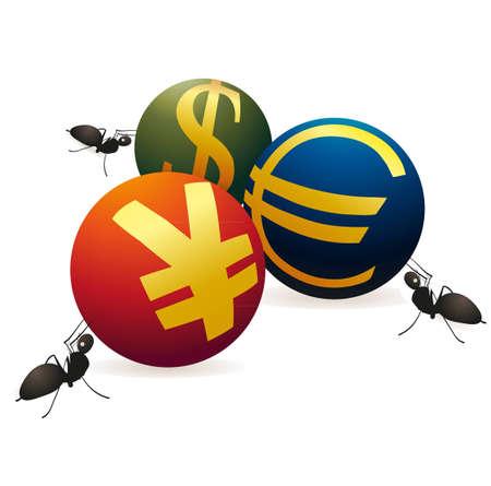 relaciones laborales: Tres hormigas con tres s�mbolos de Yuan, euro y d�lar de EE.UU. Vectores
