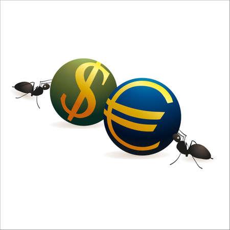 labor relations: Dos hormigas que empujan d�lar y los s�mbolos del euro contra la otra Vectores