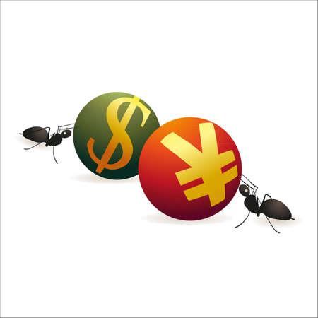 relaciones laborales: Dos hormigas que empujan D�lar y s�mbolos Yuan uno contra el otro
