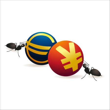 relaciones laborales: Dos hormigas empujando s�mbolos Yuan y el Euro