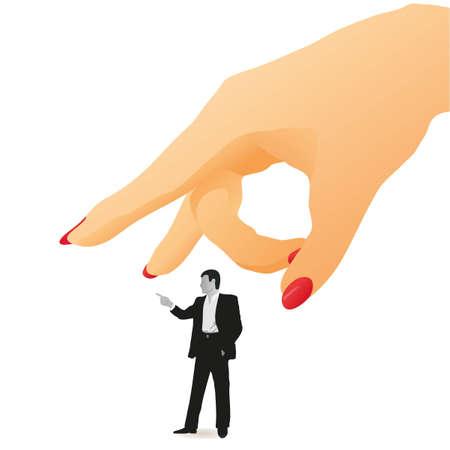 Woman s flick on a  little figure of businessman