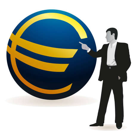 relaciones laborales: Hombre de negocios apuntando a un gran s�mbolo del euro