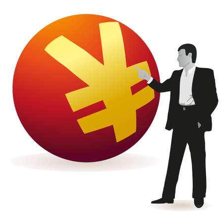 relaciones laborales: Hombre de negocios apuntando a un gran s�mbolo de Yuan
