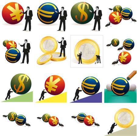 relaciones laborales: Conjunto de imágenes de monedas y empresarial Vectores