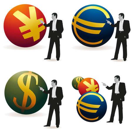 relaciones laborales: Conjunto de cuatro hombres de negocios con los s�mbolos de Yuan, el euro y d�lar de EE.UU.