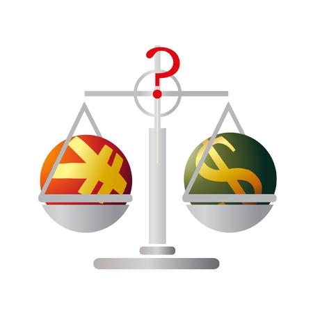 yuan: Balance with Yuan and US Dollar Illustration