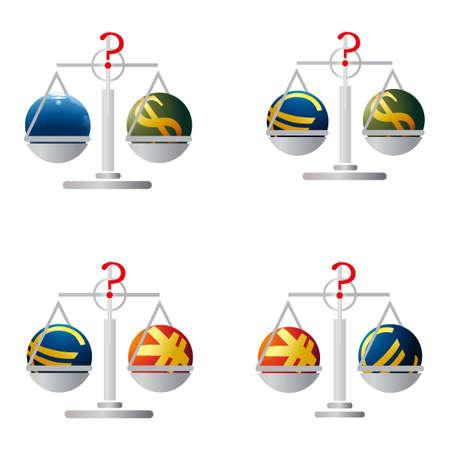 relaciones laborales: Cuatro saldos con los símbolos de euro, dólar de EE.UU., Yuan y la Tierra