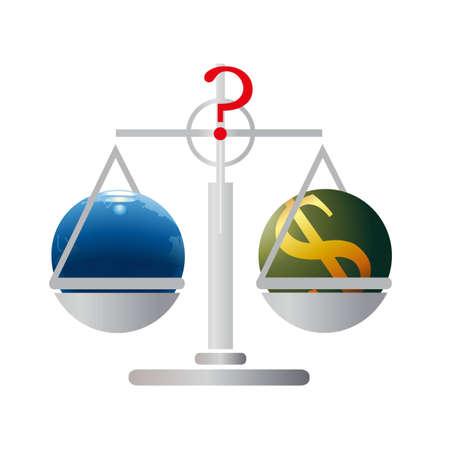 relaciones laborales: Equilibrio con la Tierra y el d�lar de EE.UU. Vectores