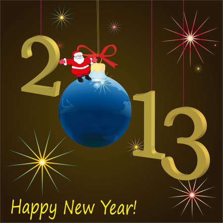 2013 New Year symbols  with Santa Claus and ball, brown background Illustration