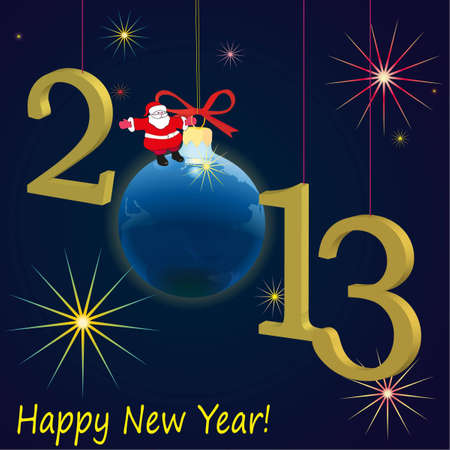 Symbols of New Year 2013 with Euro coin, dark blue Illustration