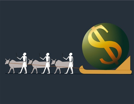Ancient Egyptians driving big US Dollar in a sledge Illustration