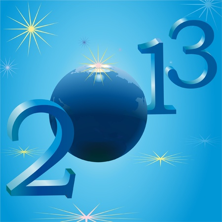 Symbols of 2013 New Year and Earth Stock Vector - 12831558