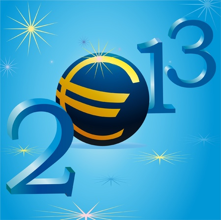 Euro symbol in 2013 New Year Vector