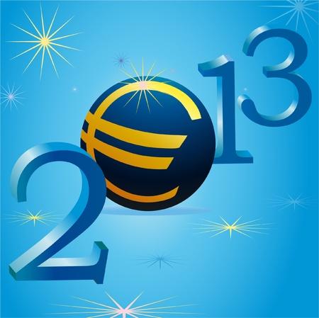 relaciones laborales: S�mbolo del euro en 2013 del A�o Nuevo Vectores