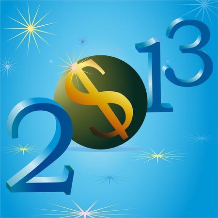 relaciones laborales: EE.UU. s�mbolo de d�lar en 2013 del A�o Nuevo