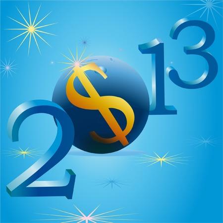 Yellow US Dollar symbol in 2013 New Year Stock Vector - 12831565