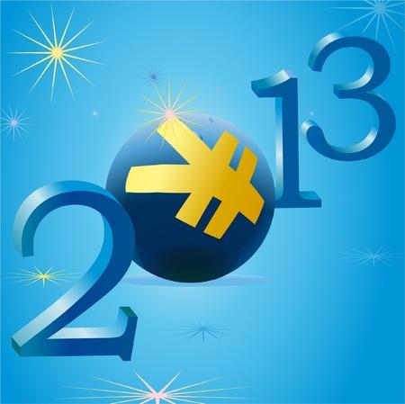 relaciones laborales: Amarillo s�mbolo de Yuan en 2013 del A�o Nuevo