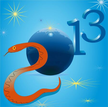 Snake and symbols of 2013 New Year Vector