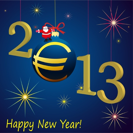 2013 New Year symbols with Santa Claus and Euro ball Stock Vector - 12831569