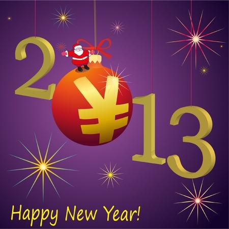 relaciones laborales: 2013 s�mbolos del A�o Nuevo con Santa Claus y rojo Yuan pelota