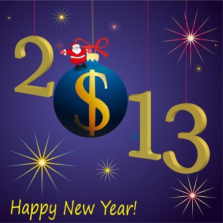 relaciones laborales: 2013 s�mbolos del A�o Nuevo con Santa Claus y la bola de EE.UU. D�lar