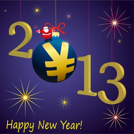 relaciones laborales: 2013 s�mbolos del A�o Nuevo con Santa Claus y la pelota Yuan