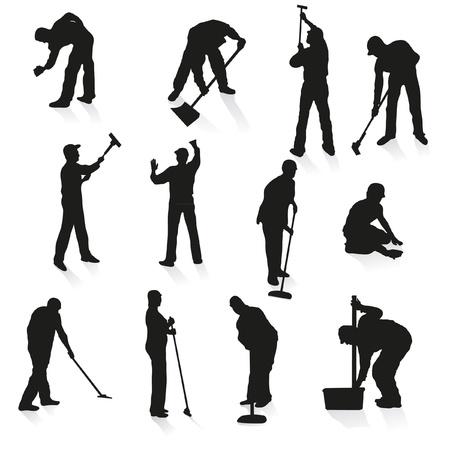 Juego de doce siluetas negras de los limpiadores Ilustración de vector
